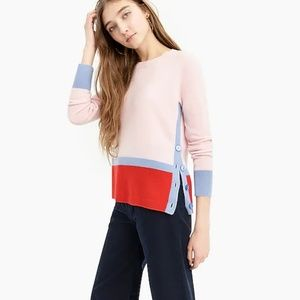 Color Block 100% Cashmere Sweater